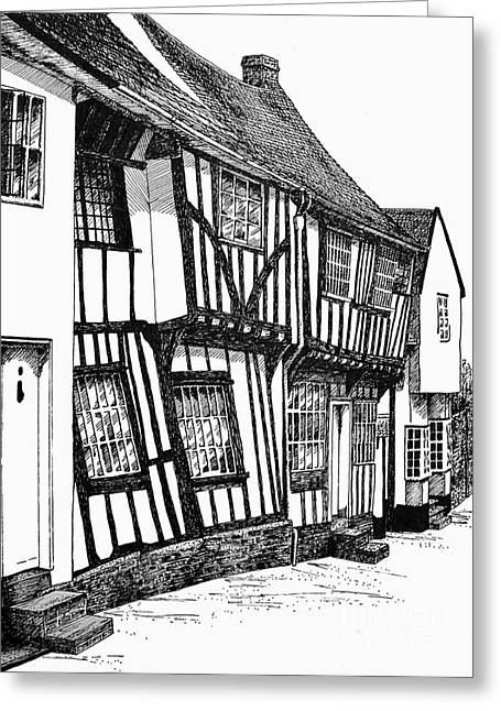 Residential Drawings Greeting Cards - Lavenham Timber Greeting Card by Shirley Miller