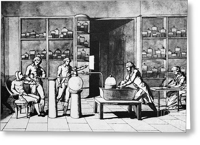 Respiration Greeting Cards - Lavoisier Respiration Experiment, 1770s Greeting Card by Spl