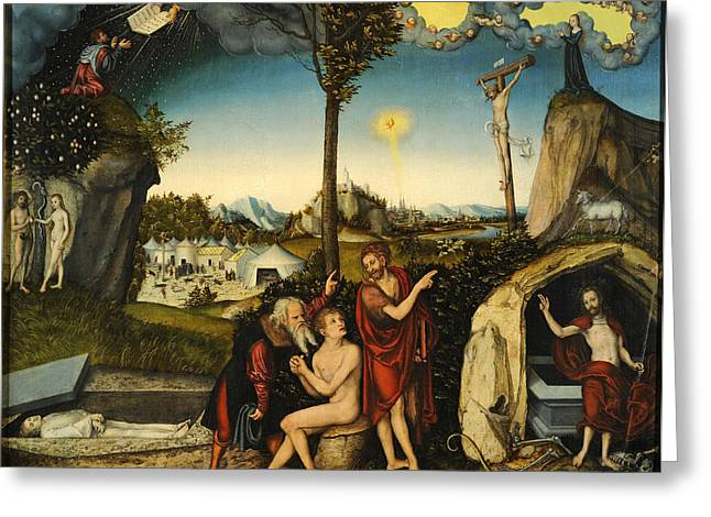 Damnation Greeting Cards - Law and Gospel. Damnation and Salvation Greeting Card by Lucas Cranach the Elder