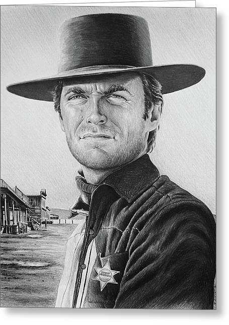 Cowboy Sketches Greeting Cards - Law and Order bw version Greeting Card by Andrew Read