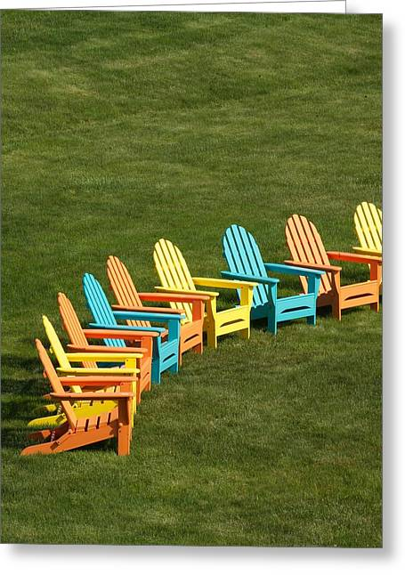 Lawn Chair Greeting Cards - Law Chairs on Marthas Vineyard Greeting Card by Walter Rowe