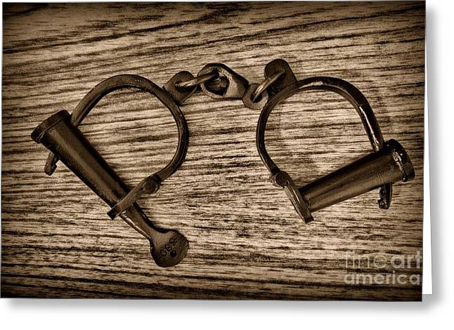 """leg Irons"" Greeting Cards - Law Enforcement - Antique Handcuffs - Black and White Greeting Card by Paul Ward"