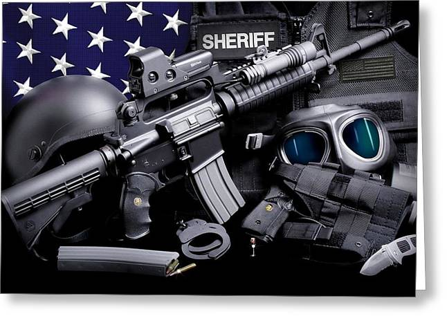 Law Enforcement Greeting Cards - Law Enforcement Tactical Sheriff Greeting Card by Gary Yost