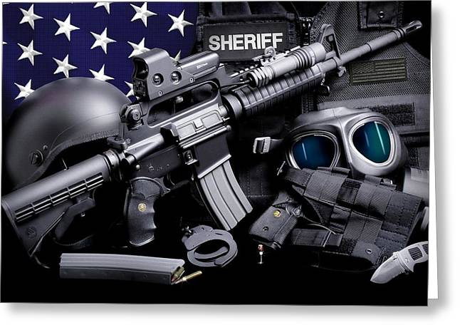 Law Enforcement Tactical Sheriff Greeting Card by Gary Yost