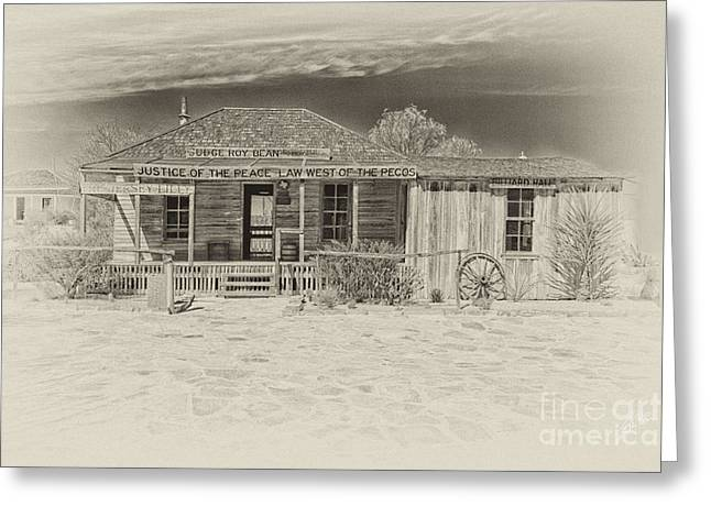 Judge Roy Bean Greeting Cards - Law West of Pecos Greeting Card by Erika Weber