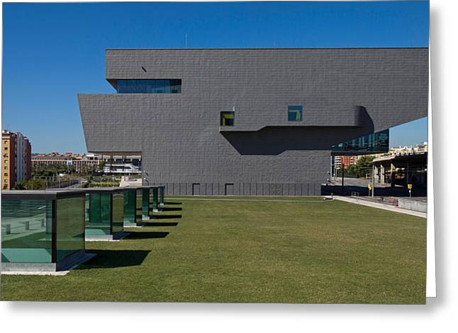 Hub Greeting Cards - Lawn At A Museum, Disseny Hub Barcelona Greeting Card by Panoramic Images