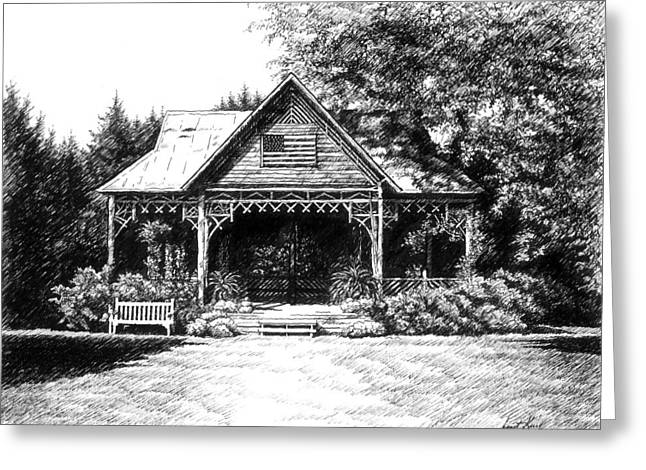 Pen And Ink Drawing Of Franklin Tennessee Greeting Cards - Lawn Chair Theater in Leipers Fork Greeting Card by Janet King