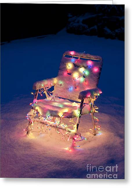 Lawn Chair With Christmas Lights Greeting Card by Jim Corwin