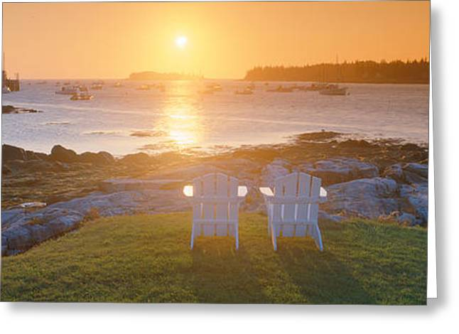 Ocean Shore Greeting Cards - Lawn Chairs At Sunrise At Lobster Greeting Card by Panoramic Images