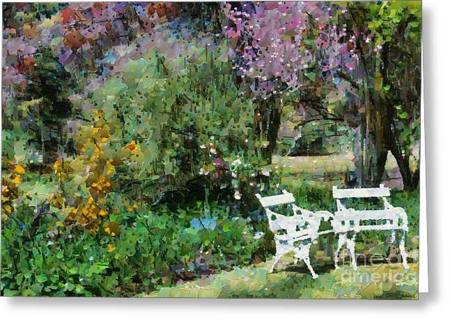Lawn Chair Digital Greeting Cards - Lawn chairs in the garden Greeting Card by Fran Woods
