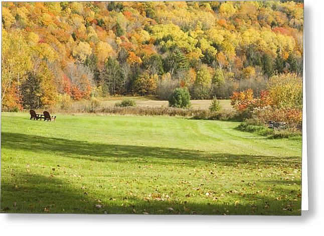 Autumn In New England Greeting Cards - Lawn Chairs Overlooking Autumn Landscape in Vienna Maine Greeting Card by Keith Webber Jr