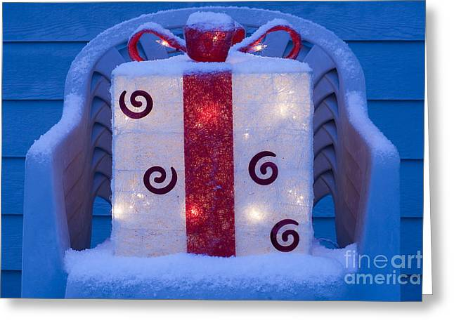 Lawn Chair Greeting Cards - Lawn Chairs with lit Christmas present Greeting Card by Jim Corwin