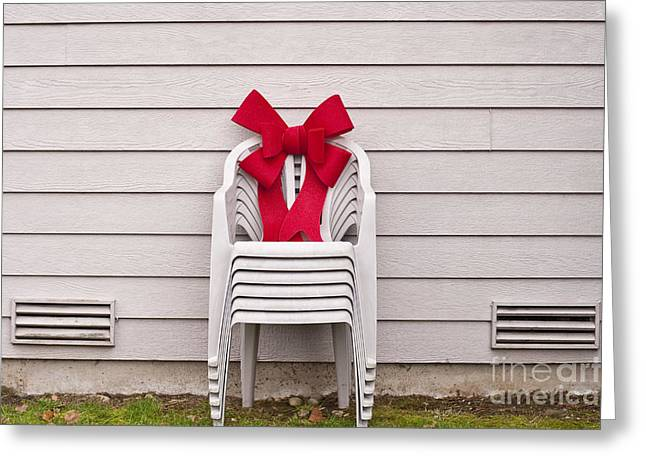 Lawn Chair Greeting Cards - Lawn Chairs with red Christmas bow Greeting Card by Jim Corwin