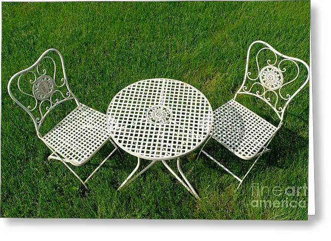 Chic Greeting Cards - Lawn Furniture Greeting Card by Olivier Le Queinec