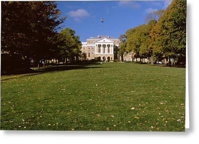 Flag Of Usa Greeting Cards - Lawn In Front Of A Building, Bascom Greeting Card by Panoramic Images