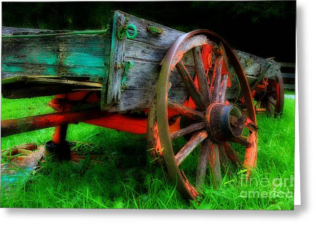 Antique Wagon Greeting Cards - Lawn Ornament Greeting Card by Michael Eingle