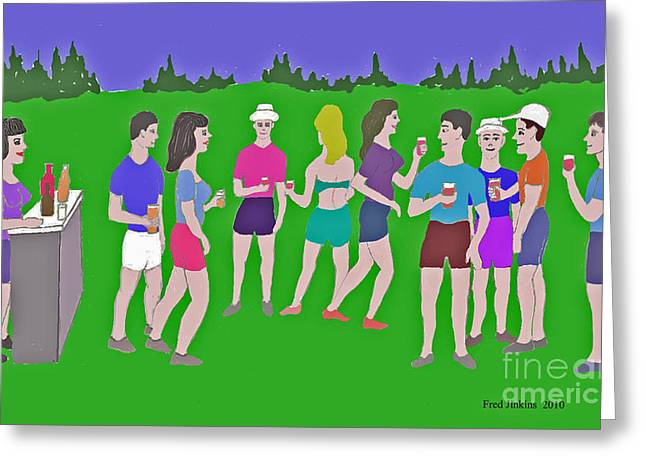 Austin Artist Digital Art Greeting Cards - Lawn Party  Greeting Card by Fred Jinkins