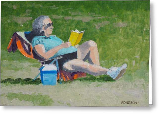 Lawn Chair Greeting Cards - Lawn Reading Greeting Card by Robert Rohrich