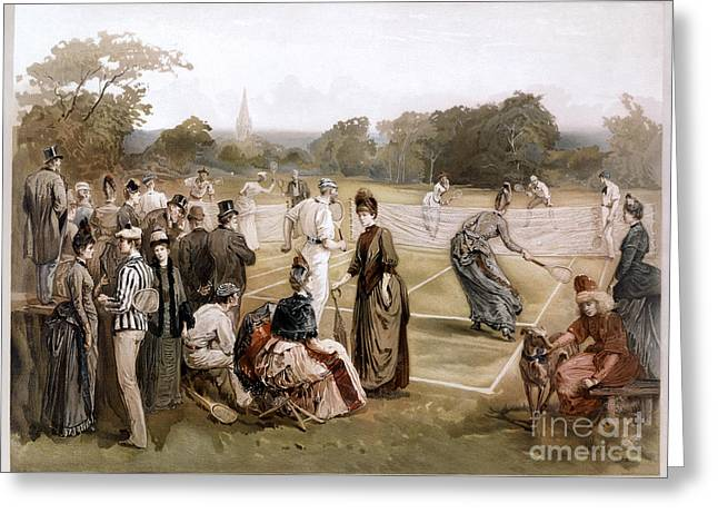 Tennis Player Drawings Greeting Cards - Lawn Tennis 1887 Greeting Card by Granger