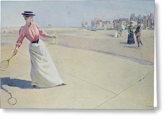 Long Skirt Greeting Cards - Lawn Tennis on the Normandy Coast  Greeting Card by Albert Lynch
