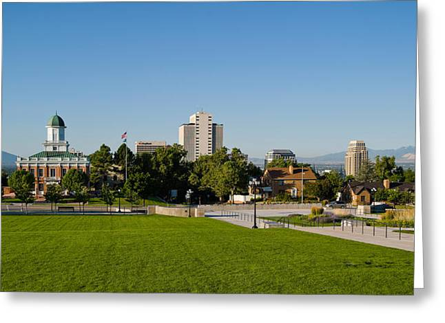Capitol Greeting Cards - Lawn With Salt Lake City Council Hall Greeting Card by Panoramic Images