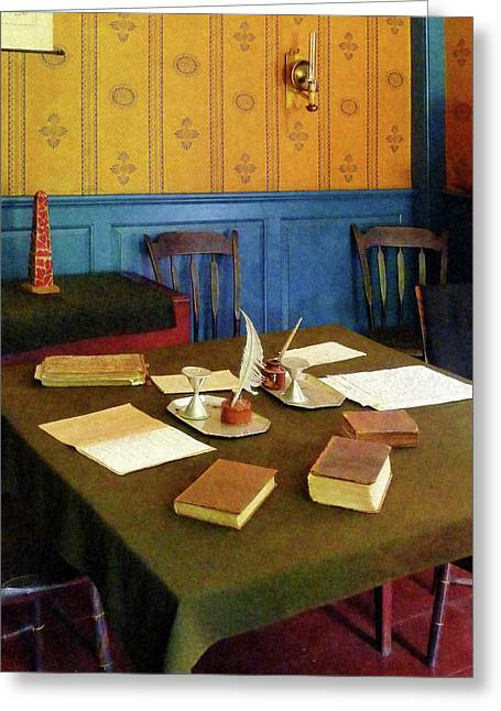 Book Greeting Cards - Lawyer - 19th Century Lawyers Office Greeting Card by Susan Savad