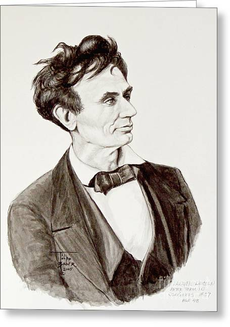 Abe Drawings Greeting Cards - Lawyer Abe Lincoln  Greeting Card by Art By - Ti   Tolpo Bader