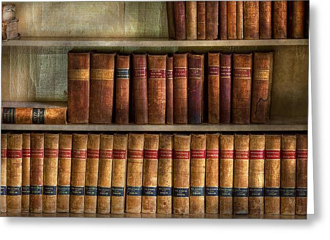 Bookcase Greeting Cards - Lawyer - Books - Law books  Greeting Card by Mike Savad