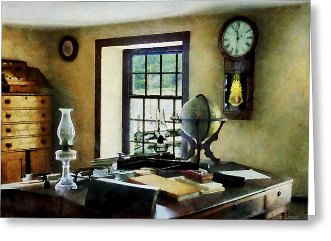 Desk Greeting Cards - Lawyer - Globe Books and Lamps Greeting Card by Susan Savad