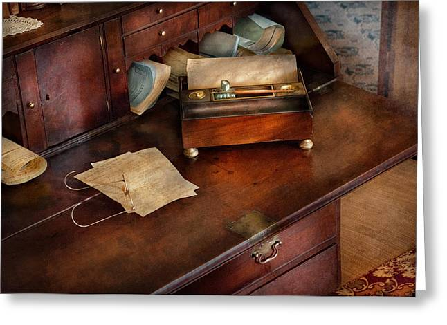 Sepia Ink Greeting Cards - Lawyer - Important Documents  Greeting Card by Mike Savad