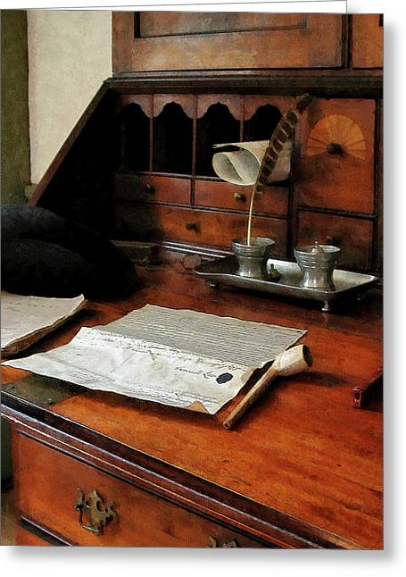 Desk Greeting Cards - Lawyer - Quill Papers and Pipe Greeting Card by Susan Savad
