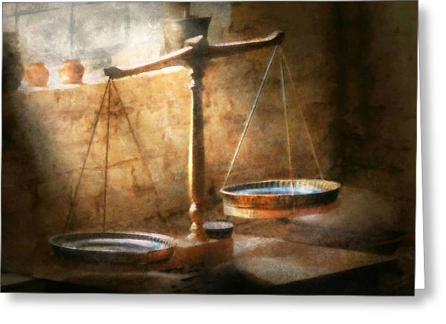 Banker Greeting Cards - Lawyer - Scale - Balanced law Greeting Card by Mike Savad