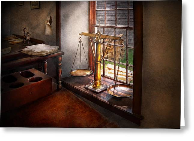 Suburban Greeting Cards - Lawyer - Scales of Justice Greeting Card by Mike Savad