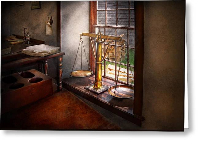 Desk Greeting Cards - Lawyer - Scales of Justice Greeting Card by Mike Savad