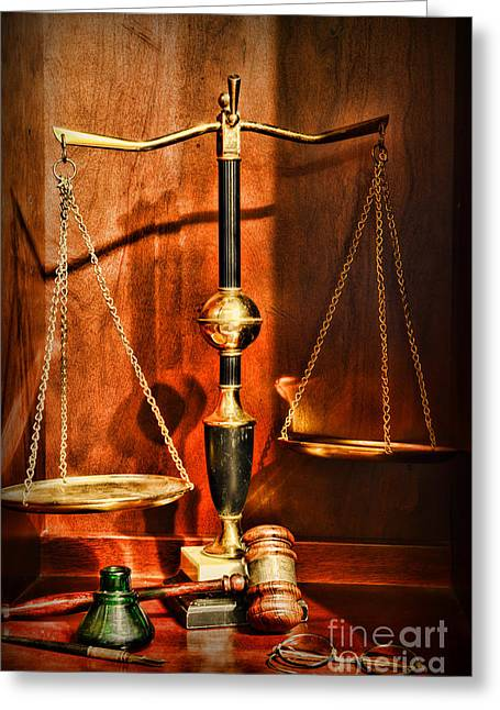 Practicing Greeting Cards - Lawyer - Scales of Justice Greeting Card by Paul Ward