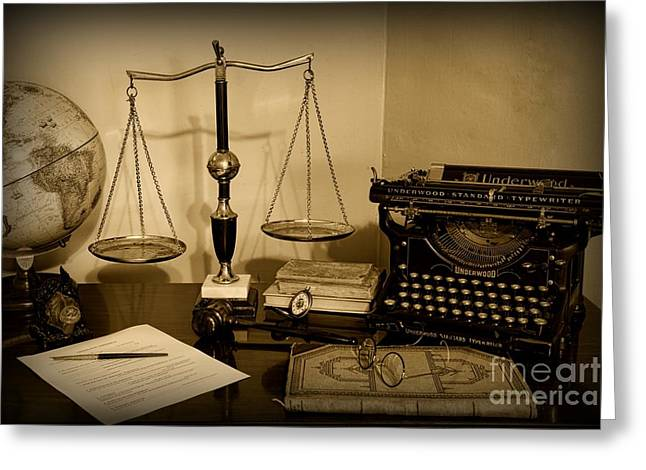 Solicitor Greeting Cards - Lawyer - The Lawyers Desk in black and white Greeting Card by Paul Ward