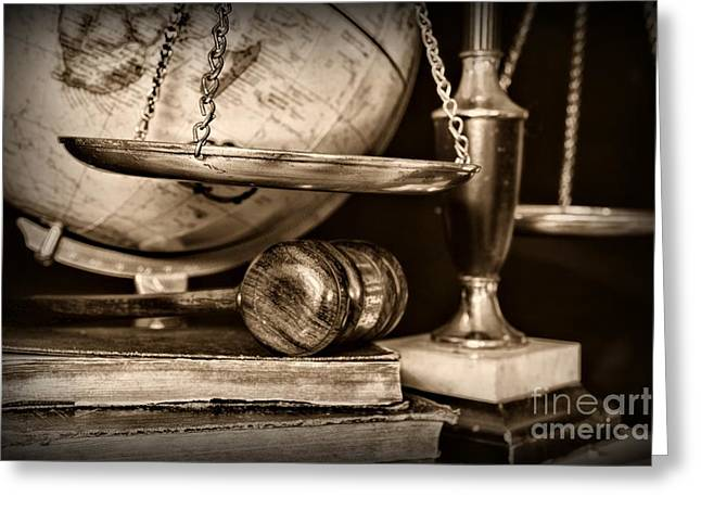 Solicitor Greeting Cards - Lawyer The Scales of Justice in Black and White Greeting Card by Paul Ward