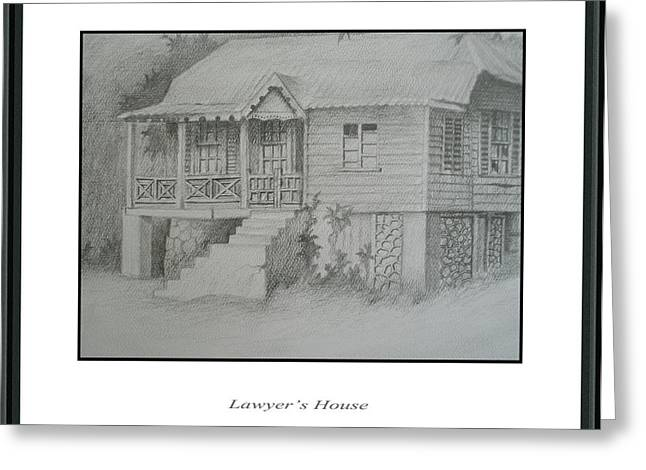 Abandoned Houses Drawings Greeting Cards - Lawyers House Greeting Card by Jerome Perrin