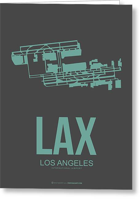Plane Greeting Cards - LAX Airport Poster 2 Greeting Card by Naxart Studio