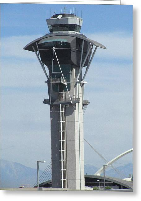 Traffic Control Digital Art Greeting Cards - LAX Control Tower Greeting Card by Russell Einhorn