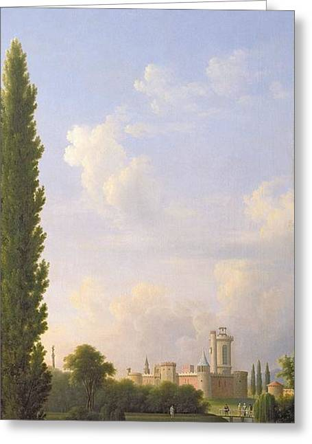 Chateau Greeting Cards - Laxenburg Castle, Near Vienna, 1810 Oil On Canvas Greeting Card by Jean Bidauld