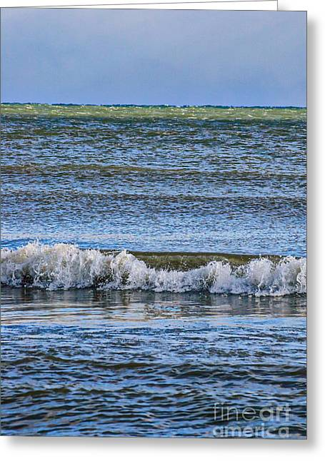 Blue Green Wave Greeting Cards - Layers of Blue Greeting Card by Jocelyn Ball