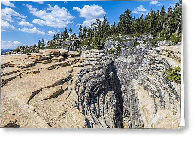 Cracked Stone Greeting Cards - Layers of Granite Greeting Card by Joseph S Giacalone