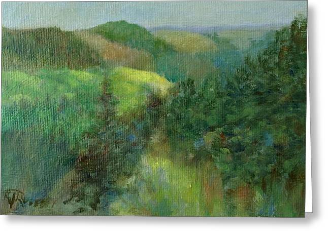 Layers Of Mountain Ranges Colorful Original Landscape Oil Painting Greeting Card by K Joann Russell