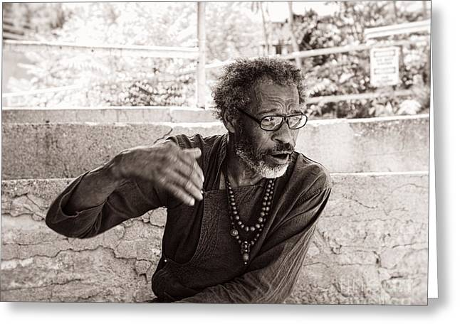 Homeless Man Greeting Cards - Laying It Out Greeting Card by Royce Howland