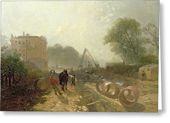 Underground Greeting Cards - Laying Monster Tubes From The New River, 1855 Oil On Canvas Greeting Card by James Baker Pyne