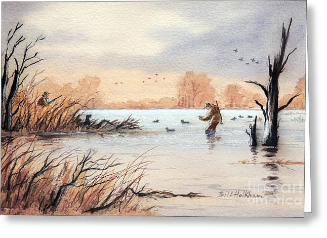 Unlimited Greeting Cards - Laying Out The Decoys I Greeting Card by Bill Holkham
