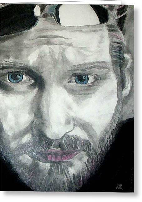 Staley Mixed Media Greeting Cards - Layne Staley Greeting Card by Art by Kar
