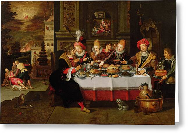 Spaniel Greeting Cards - Lazarus And The Rich Mans Table From Luke Xvi Panel Greeting Card by Kasper or Gaspar van den Hoecke
