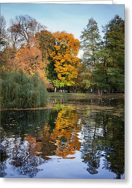Leafage Greeting Cards - Lazienki Park Autumn Scenery in Warsaw Greeting Card by Artur Bogacki